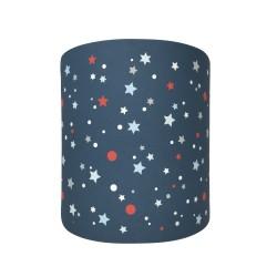 Abat jour ou suspension cylindrique bleu marine étoiles de la galaxie bleues et rouges