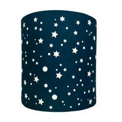 Abat jour ou suspension cylindrique étoiles de la galaxie bleu marine