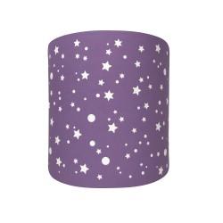 Abat jour ou suspension cylindrique étoiles de la galaxie prune