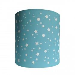 Abat jour ou suspension cylindrique étoiles de la galaxie bleu turquoise