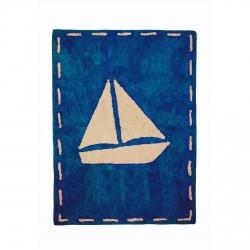 Tapis enfant coton bleu marine bateau beige
