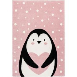 Tapis enfant pingouin Gidya rose