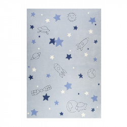 Tapis enfant espace Han bleu gris