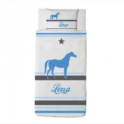 Housse de couette cheval LENA bleu
