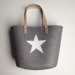 Panier tressé gris étoile blanche avec grandes anses