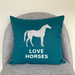 Coussin bleu canard Love Horses
