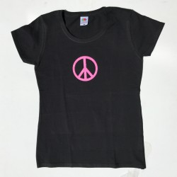 Tee-shirt noir femme peace and love