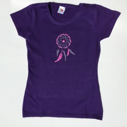 Tee-shirt violet fille attrape-rêves rose fluo