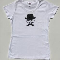 Tee-shirt blanc fille chapeau et lunettes