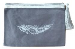 Pochette grise plume argent pailletée personnalisable