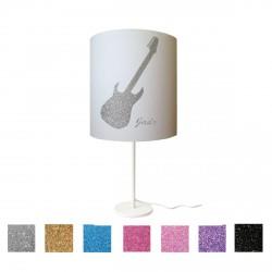 Lampe à poser guitare pailletée personnalisable