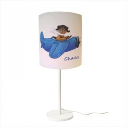 Lampe à poser enfant ours en avion bleu personnalisable