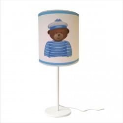 Lampe à poser ours mousse bleu personnalisable
