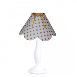 Lampe à poser festonnée blanche à pois dorés