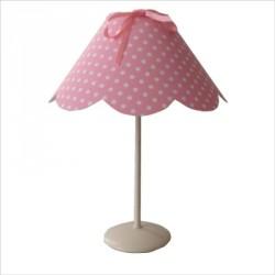 Lampe à poser abat jour festonné rose pois blanc