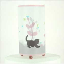 Lampe à poser chaton rose