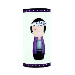 Lampe à poser Géante kokeshi garçon violet personnalisable