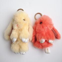 Duo de porte-clés lapins beige et corail