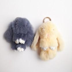 Duo de porte-clés lapins beige et gris anthracite
