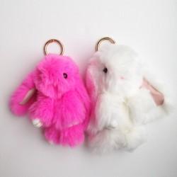 Duo de porte-clés lapins blanc et rose fluo