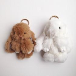 Duo de porte-clés lapins blanc et taupe