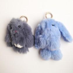 Duo de porte-clés lapins bleu ciel et gris anthracite