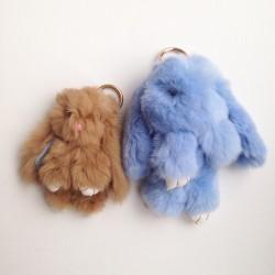 Duo de porte-clés lapins bleu ciel et taupe