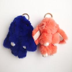 Duo de porte-clés lapins bleu foncé et corail