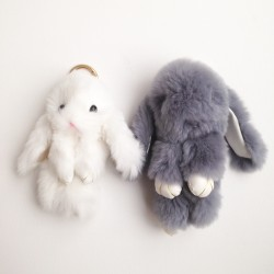 Duo de porte-clés lapins gris et blanc
