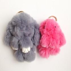 Duo de porte-clés lapins gris et rose fluo