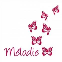 Stickers prénom papillons rouges