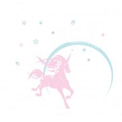 Sticker licorne neige étoilée