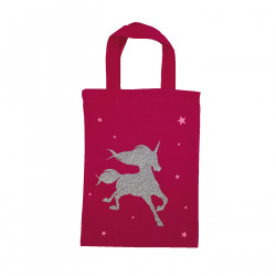 Tote bag mini licorne rose personnalisable