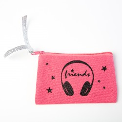 Porte monnaie rose casque friends