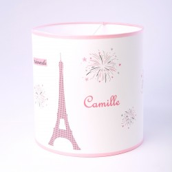 Abat Jour ou Suspension Melle Paris Tour Eiffel rose personnalisable