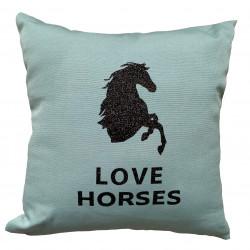 Coussin bleu celadon Love Horses