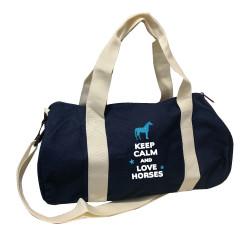 Sac de sport marine keep calm love horses turquoise personnalisable
