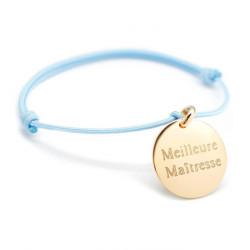Bracelet cordon Médaille gravée Meilleure Maîtresse - Plaqué Or