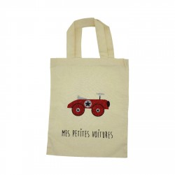Tote bag petites voitures rouge