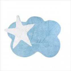 Tapis enfant nuage bleu et étoile blanche