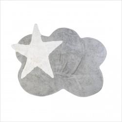 Tapis enfant nuage gris et étoile blanche