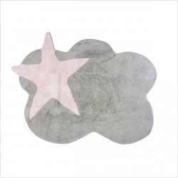 Tapis enfant nuage gris et étoile rose