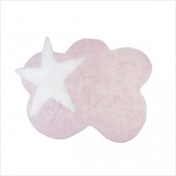 Tapis enfant nuage rose et étoile blanche