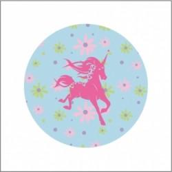 Miroir de poche licorne fleuri bleu