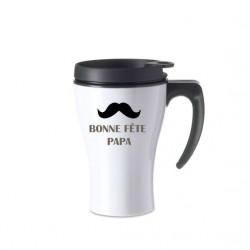 Mug isotherme blanc bonne fête papa moustache marron
