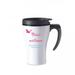 Mug isotherme blanc  Merci maitresse Papillon