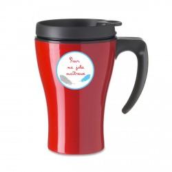 Mug isotherme rouge plumes bleue et grise maitresse