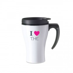 Mug isotherme blanc I Love thé coeur rose