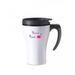 Mug isotherme blanc maitresse Pause récré café fumant