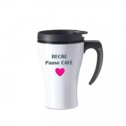 Mug isotherme blanc Pause café coeur rose